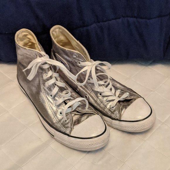 Converse High Tops Silver Metallic